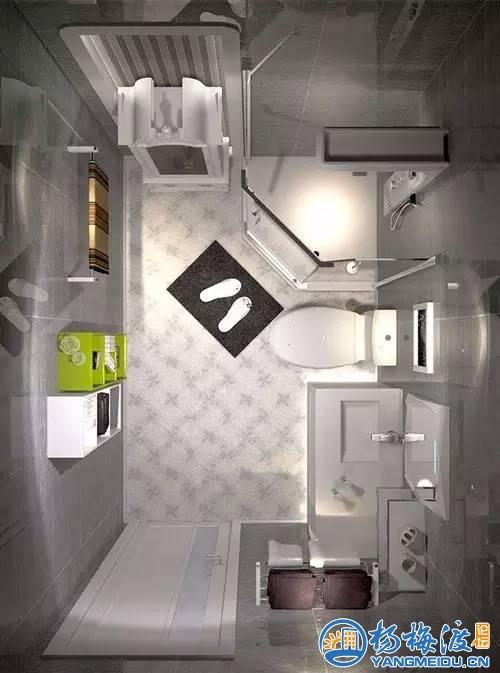 长方形卫浴间,且开门在长边的,淋浴房可以这样安装▼▼▼-淋浴房高清图片